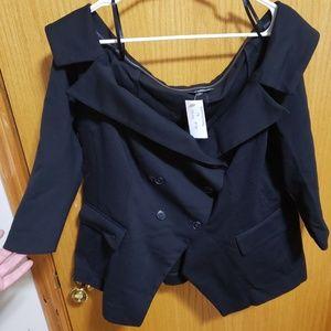 Lane Bryant Off Shoulder Black Suit Jacket/Blazer